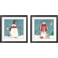 Framed Folk Snowman 2 Piece Framed Art Print Set