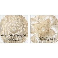 Framed Metallic Floral Quote 2 Piece Art Print Set