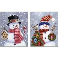 Framed Snowman 2 Piece Art Print Set