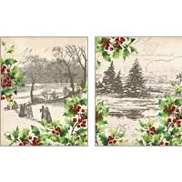 Framed Vintage Holiday 2 Piece Art Print Set
