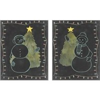 Framed Chalkboard Snowman 2 Piece Art Print Set