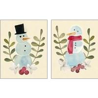 Framed Snowman Cut-out  2 Piece Art Print Set
