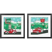 Framed Retro Santa Driving 2 Piece Framed Art Print Set