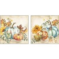 Framed Watercolor Harvest Pumpkin 2 Piece Art Print Set