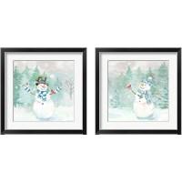 Framed Let it Snow Blue Snowman 2 Piece Framed Art Print Set