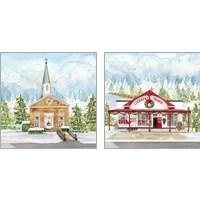 Framed Christmas Village 2 Piece Art Print Set