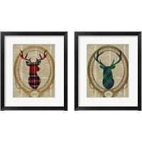 Framed Holiday Tartan Deer  2 Piece Framed Art Print Set