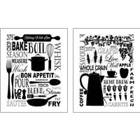 Framed Culinary Love BW 2 Piece Art Print Set