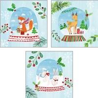 Framed Snow Globe Animals 3 Piece Art Print Set