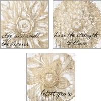 Framed Metallic Floral Quote 3 Piece Art Print Set