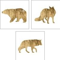 Framed Brushed Gold Animals 3 Piece Art Print Set