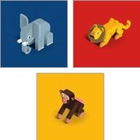 Framed Kids Animal 3 Piece Art Print Set