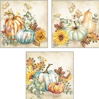 Framed Watercolor Harvest Pumpkin 3 Piece Art Print Set