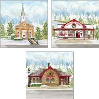 Framed Christmas Village 3 Piece Art Print Set