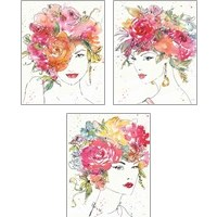 Framed Floral Figures 3 Piece Art Print Set
