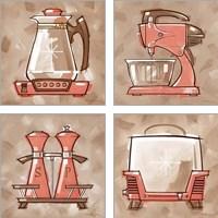 Framed Kitchen - Coral & Brown 4 Piece Art Print Set