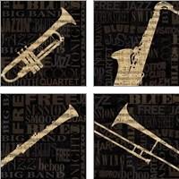 Framed Jazz Improv 4 Piece Art Print Set