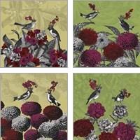 Framed Blooming Birds Florals 4 Piece Art Print Set