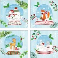 Framed Snow Globe Animals 4 Piece Art Print Set