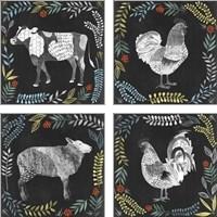 Framed Chalkboard Farmhouse 4 Piece Art Print Set