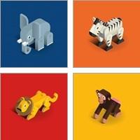Framed Kids Animal 4 Piece Art Print Set