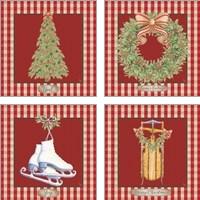 Framed Hometown Christmas 4 Piece Art Print Set
