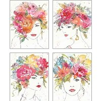 Framed Floral Figures 4 Piece Art Print Set