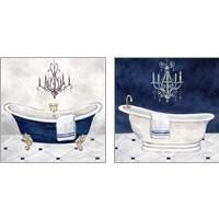 Framed Navy Blue Bath 2 Piece Art Print Set