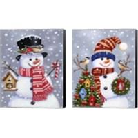 Framed Snowman 2 Piece Canvas Print Set