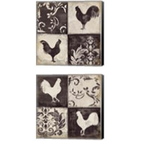Framed Rooster Silhouette 2 Piece Canvas Print Set