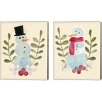 Framed Snowman Cut-out  2 Piece Canvas Print Set
