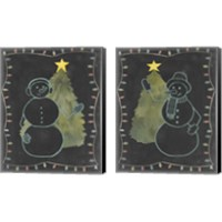 Framed Chalkboard Snowman 2 Piece Canvas Print Set