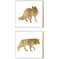 Framed Brushed Gold Animals 2 Piece Canvas Print Set