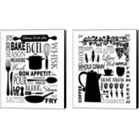 Framed Culinary Love BW 2 Piece Canvas Print Set