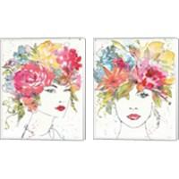 Framed Floral Figures 2 Piece Canvas Print Set