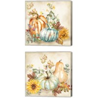 Framed Watercolor Harvest Pumpkin 2 Piece Canvas Print Set