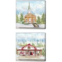 Framed Christmas Village 2 Piece Canvas Print Set