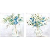 Framed Eucalyptus Vase Navy 2 Piece Art Print Set