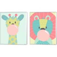 Framed Colorful Kids Animals 2 Piece Canvas Print Set
