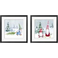 Framed Gnomes on Winter Holiday 2 Piece Framed Art Print Set