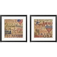 Framed America Typography 2 Piece Framed Art Print Set