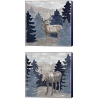 Framed Blue Cliff Mountains 2 Piece Canvas Print Set