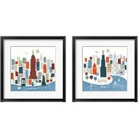 Framed Colorful Chicago & New York 2 Piece Framed Art Print Set