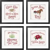 Framed Vintage Christmas Signs 4 Piece Framed Art Print Set