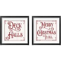 Framed Vintage Christmas Signs 2 Piece Framed Art Print Set
