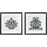 Framed Textured Damask on White 2 Piece Framed Art Print Set