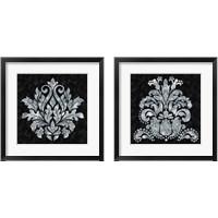 Framed Textured Damask on Black 2 Piece Framed Art Print Set