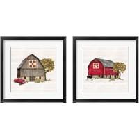 Framed Fall Barn Quilt 2 Piece Framed Art Print Set