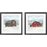 Framed Winter Barn Quilt 2 Piece Framed Art Print Set