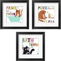 Framed Cute Cat Bath 3 Piece Framed Art Print Set